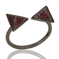 Black Oxidized Natural Ruby Sterling Silver Pyramid Shape Ring Statement Ring