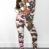 Purple Camouflage Print Drawstring Zipper Two Piece Hooded Casual Party Long Jumpsuit