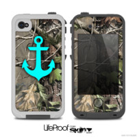 The Real Camouflage and Blue Anchor V1 Skin for the iPhone 4-4s or 5 LifeProof Case