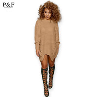 2016 New Women Loose Sweater Dress Fashion Winter Autumn  Elegant vintage Dresses sexy Long Sleeve Casual Womens Clothing black