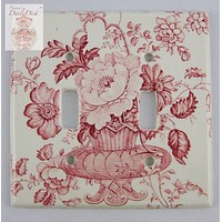 RARE Red Transferware Double Light Switch Plate Charlotte Basket of Roses and Flowers