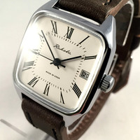 """Vintage men's watch """"ROCKET"""" (Raketa).Square mechanical Soviet wristwatch with white dial and brand new leather band,great gift for him."""