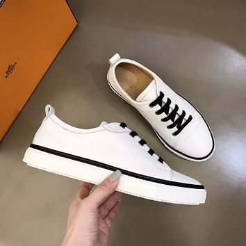HERMES 2021 Men Fashion Boots fashionable Casual leather Breathable Sneakers Running Shoes08180cx