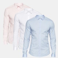 ASOS Skinny Shirt In White Blue And Pink 3 Pack SAVE 17% at asos.com