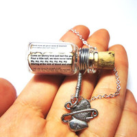 Love Song in a Bottle necklace Your Pick Silver by BelladeJour