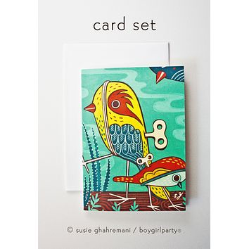 Wind Up Bird Illustrated Notecards (Set of 4 Note Cards with envelopes)