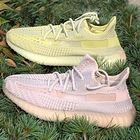 Hipgirls Adidas Yeezy Boost 350 V2 Women Men Sports Sneakers Fashion running shoes Yellow Khkai