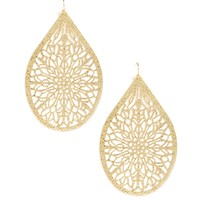Gold Stencil Teardrop Earrings