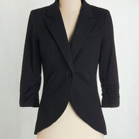Menswear Inspired, Best Seller, Scholastic Mid-length 3 Fine and Sandy Blazer in Noir