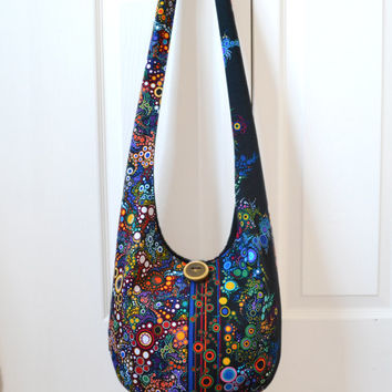 MADE TO ORDER Hobo Bag, Sling Bag, Bubbles, Circles, Mod, Colorful, Hippie Purse, Crossbody Bag