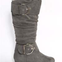 Twisted Wide Calf Buckle Boots