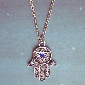Necklace 067: Hand Necklace, Hamsa Necklace, Charm Jewelry Personalized Gift