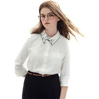 Cute Cat Embroidery Collar Vintage Long Sleeve Shirt