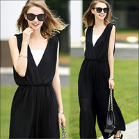 Summer Plus Size Casual Chiffon Wrap Jumpsuit [4918863748]