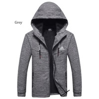 ADIDAS autumn and winter long-sleeved plus velvet thick warm hooded jacket Grey