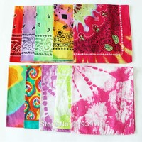 Cotton Colourfull Paisley Skull Tie-Dye Bandanas Square Ladies Headscarf Women Neckerchief Handkerchief  SUJASANMY TJ9024