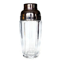 Cocktail Shaker, Crystal Silver Plate, Faceted Heavy Martini Shaker