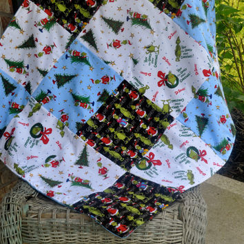 Grinch Blanket, How the grinch stole christmas, Dr. suess patchwork quilt.  Ready to ship.