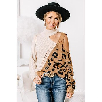 You Guessed It Cold Shoulder Cheetah Print Sweater