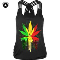 Women Top Fitness Camisole Tank Tops Weed Leaf Printed Sleeveless T Shirts Punk Tee Strap Vest Sporting Clothes Sexy Halter Top