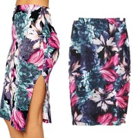 Print Stylish Fashion Summer Split Skirt = 5839988033