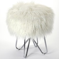 Ezra White Faux Fur Stool