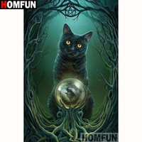 5D Diamond Painting Witches Black Cat Kit