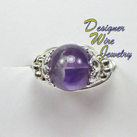 DWJ0145 Genuine Amethyst Solitaire Silver Wire Wrap Ring