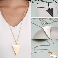 Punk Black Silver Gold Triangle Pendant & Necklace Long Chain Colar De Pingente Collier Necklace For Men & Women P1192