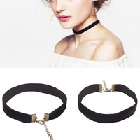 3Pcs 2015 90's Women Black Velvet Choker Necklace Gothic Handmade Retro Burlesque Jewelry #71631