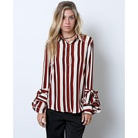 Rock The Stripe Blouse Top - Ivory/Burgundy