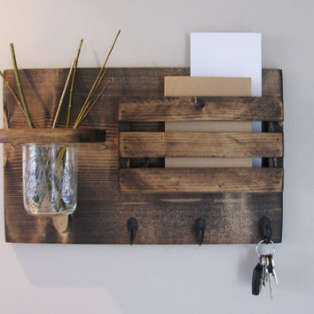 Mail Organizer, Rustic Organizer, Key Holder, Mail Holder, 3 Hooks
