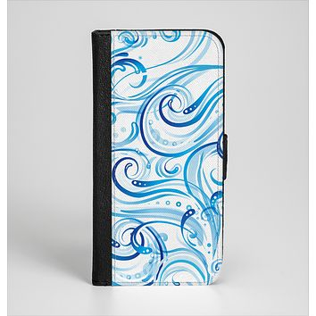 The Wild Blue Swirly Vector Water Pattern Ink-Fuzed Leather Folding Wallet Case for the iPhone 6/6s, 6/6s Plus, 5/5s and 5c