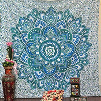Jaipurhandloom Christmas Gift Mandala Bohemian Tapestry Wall Hanging Psychedelic Wall Art Dorm Décor Beach Throw Indian Wall Tapestries