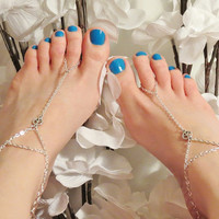 Peace Sign Barefoot Sandals. Pair of Silver Chain Anklet to Toe Ring w a Peace Sign Connector. Custom Sized