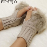 Arm Warmer Gloves Fingerless Gloves-Knitted Faux Fur Mitten Fur/Villi New Winter Knitted Trim Wrist Rabbit Women Gloves Wrist Un