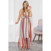 Alaina Adjustable Strap Striped Pocket Dress