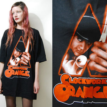 A Clockwork Orange 90s Vintage T-Shirt Long Oversized Tee Black Cotton Stanley Kubrick Movie Film Tshirt 1990s vtg XXL