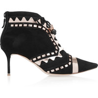 Sophia Webster - Riko metallic leather-trimmed suede ankle boots