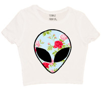 Floral Alien Head Short-Sleeved CROP TOP