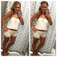 Dream Come True Romper: Ivory