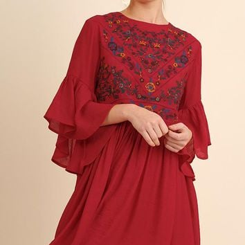 Umgee Strawberry Embroidered Dress