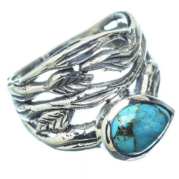 Blue Copper Turquoise Sterling Silver Vine Ring