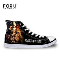 FORUDESIGNS 2017 Fashion Mens High Top Canvas Shoes Male Casual Flats Iron Maiden Man Lace-up Heavy Metal Skull Vulcanize Shoes