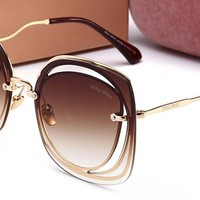 MIUMIU Women Trending Popular Shades Eyeglasses Glasses Sunglasses Golden/Tea G-HWYMSH-YJ