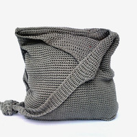 Vintage canvas handbag gray purse women bag gray cotton accessory bag canvas shoulder bag gift for woman canvas travel bag