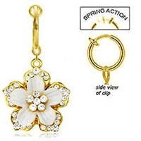 Fake Belly Navel Non Clip on Gold Plate Clear Gem Multi CZ Paved Hawaiian Flower with White Epoxy dangle Ring