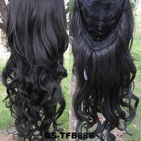 """HOT 3/4 Half Long Curly Wavy Wig Heat Resistant Synthetic Wig Hair 200g 24"""" Highlighted Curly Wig Hairpieces with Comb Wig Hair GS-TFB888 2#"""