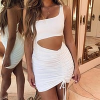 Fashionable Sexy Lady's Dresses with Hollowed-out Button Fold