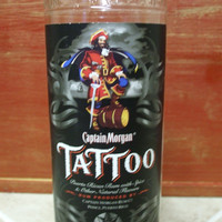 20 Ounce Pure Soy Candle in a Captain Morgan Tattoo 750ml Glass bottle upcycled bottle Man cave bar decor - Your Choice of Scent